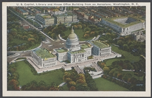 U.S. Capitol, Library and House Office Building from an Aeroplane Postcard