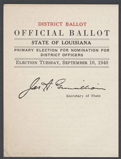 Official Ballot, State of Louisiana