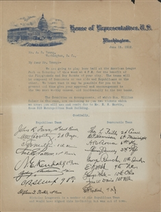 Congressional Baseball Game Letter