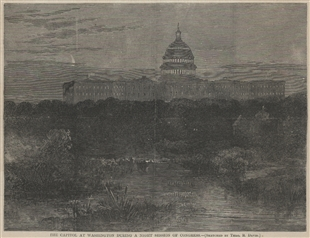 The Capitol at Washington During a Night Session of Congress