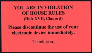 House Rules Violation Card