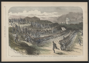 Fifth Massachusetts Volunteers Drilling for Active Service.--Charging, at the Double Quick, Up a Steep Bank Near the Capitol