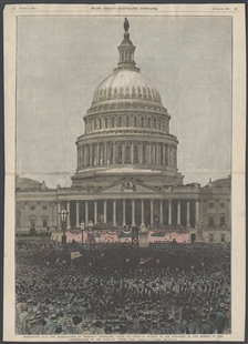 Washington, D.C. - The Inauguration of President Cleveland, March 4th. - Popular Ovation to the President at the Moment of the Administation of the Oath of Office.