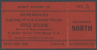 Laying of the Corner-Stone Ticket