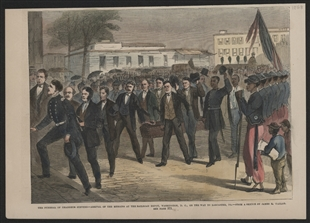 The Funeral of Thaddeus Stevens -- Arrival of the Remains at the Railroad Depot, Washington, D.C., on the Way of Lancaster, PA.