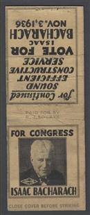 Isaac Bacharach Campaign Matchbook