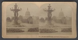 The Bartholdi Fountain, and Capitol, Washington, D.C. Stereoview