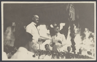 Manuel Quezon and Governor General Harrison in Manila Postcard