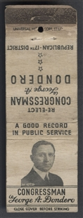 George Anthony Dondero Campaign Matchbook