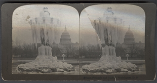Frozen Fountain and Capitol, Washington, D.C. Stereoview