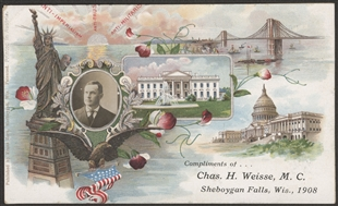 Compliments of...Chas. H. Weisse, M.C. Sheboygan Falls, Wis.,1908 Postcard
