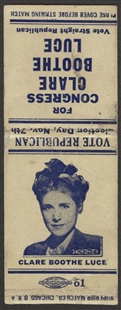 Clare Boothe Luce Matchbook