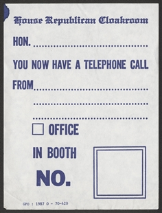 Republican Cloakroom Telephone Message