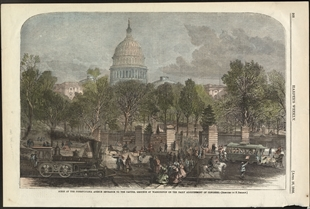 Scene at the Pennsylvania Avenue Entrance to the Capitol Grounds at Washington on the Daily Adjournment of Congress.