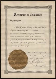 Certificate of Nomination for Henry Ellsworth Barbour