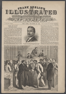 A Remarkable Event in the History of the National Congress -- The Hon. John Willis Menard, Colored Representative from Louisiana, Receiving the Congratulations of His Friends on the Floor of the House, Dec. 7th, 1868