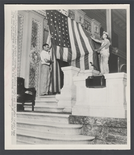 Capitol Workmen Hang Flag over the Rostrum in Preparation for the Opening of Congress