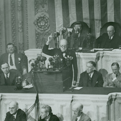 Prime Minister Winston Churchill of the United Kingdom Addressed a Joint Meeting