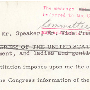 John F. Kennedy's Message to Congress