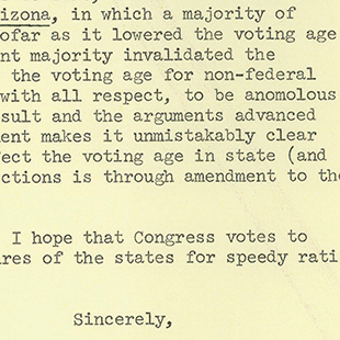 Letter on the 26th Amendment