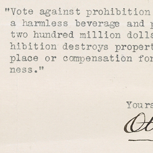 Letter against Prohibition