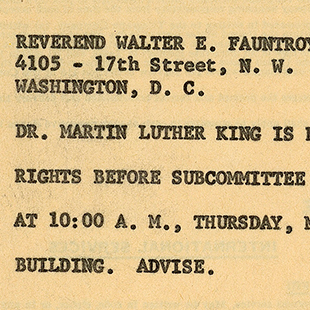 Telegram to Martin Luther King, Jr.