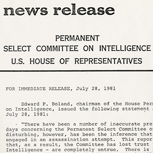 Intelligence Committee Press Release