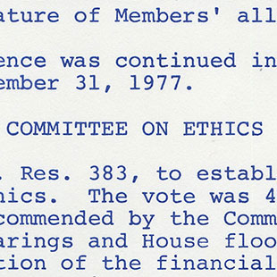 Whip Issue Paper on Ethics Reforms