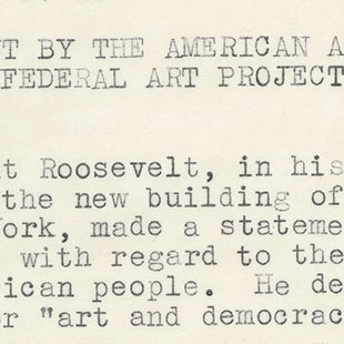 Letter on Federal Art Project