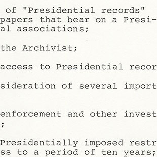 Chairman's Notebook on Presidential Records Act