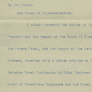 Panama Canal Presidential Message