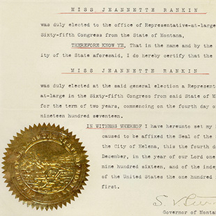 Jeannette Rankin Election Certificate