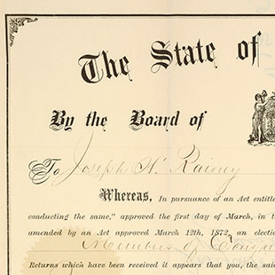 Joseph Rainey Election Certificate