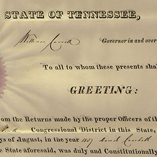 David Crockett Election Certificate