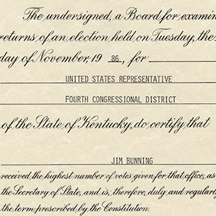 Jim Bunning Election Certificate