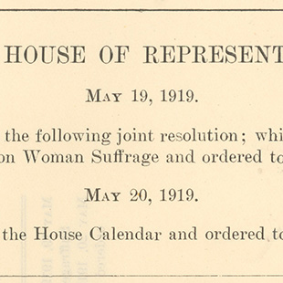 House Joint Resolution 1 for Women's Suffrage