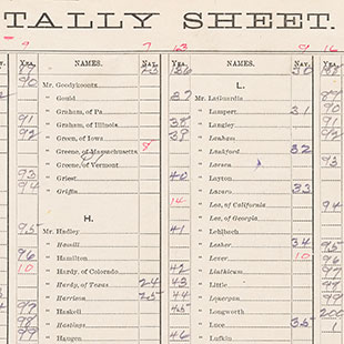 Women's Suffrage Amendment Tally Sheet